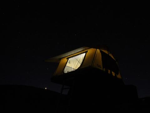 CVT tent at night