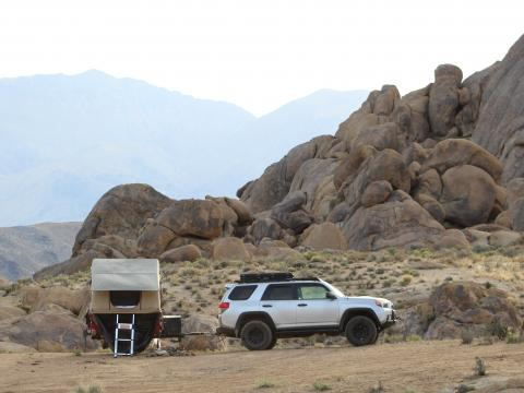 5th gen 4Runner overlanding North America - Alabama hills off road trailer