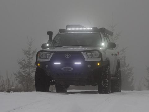 5th gen 4Runner front LED lightbar and ditch lights in snow