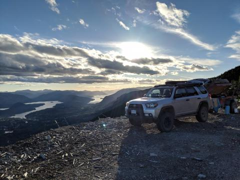 5th gen 4Runner overlanding North America - View from above Lake Cowichan, British Columbia