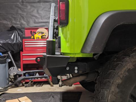 JCR Crusader mid-width rear bumper with shield gate swinging tire carrier