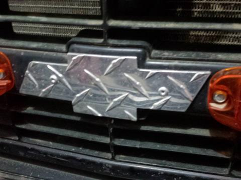 I know its a GMC but the grill was all kinds of broken, so i replaced it and Justin made me a shiny Chev Logo