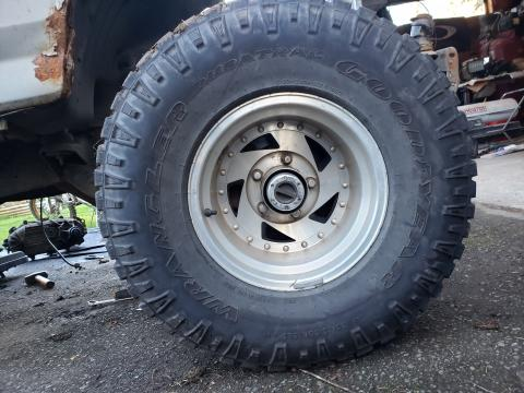 33x12.5/R15 Goodyear Duratracs on 5x5.5 bolt pattern rims